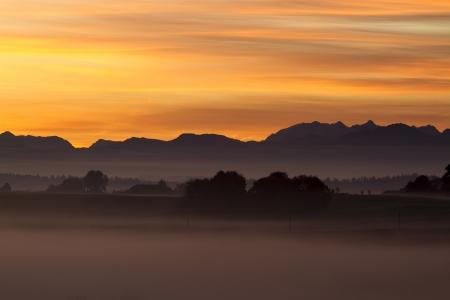Sunrise over the bavarian alps, Germany photo