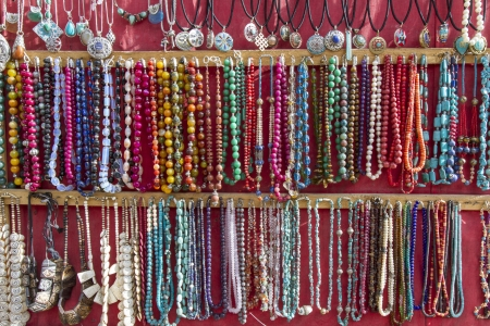 Indian jewellery sold at market in Leh, Ladakh, India photo
