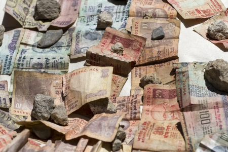 Indian rupee bank notes in the sun photo
