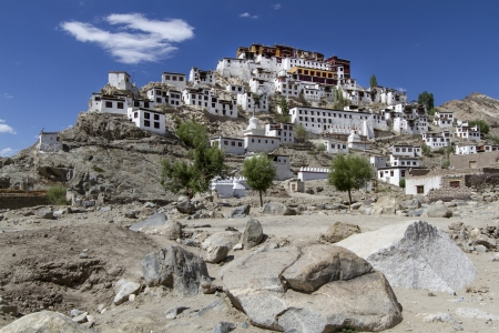 gompa: Thiksey Gompa in Ladakh, India, on a sunny day Stock Photo