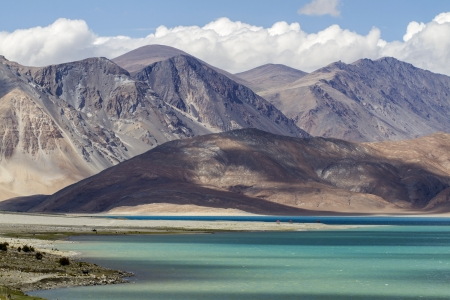Ladakh landscape on lake pangong, India, in summer photo