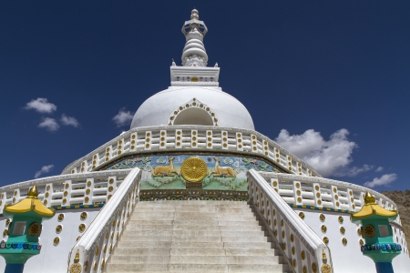 Tall Shanti Stupa near Leh, Ladakh, India photo