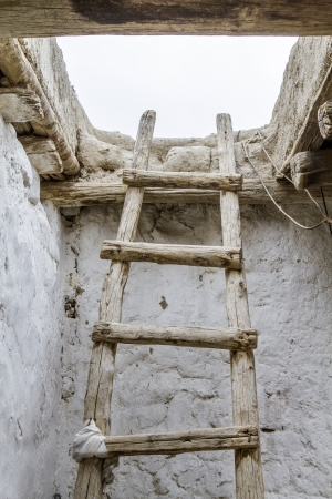 Old wooden ladder, seen in Ladakh, India photo
