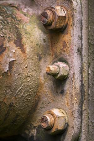 Rusty nuts on steel plate, closeup Stock Photo - 16754265