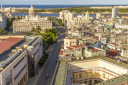 Havana city, Cuba, in warm evening light. The upper right shows the Museum of the Revolution.  Stock Photo