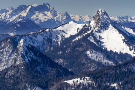 zugspitze mountain: Plankenstein mountain in Bavaria in Winter with Zugspitze mountain in the background Stock Photo