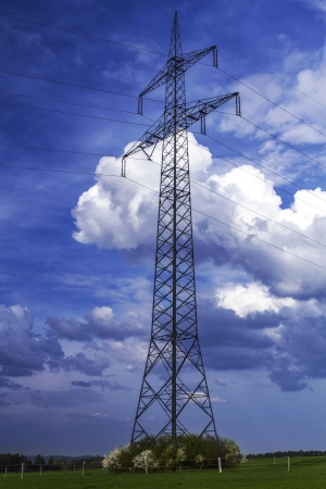 power suppliers: Electrical tower in Bavaria, Germany Stock Photo