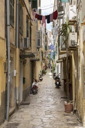 Alley in Corfu town of Corfu island, Greece photo