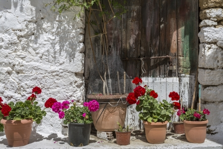 Pots with flowers in front of an old house in Greece photo