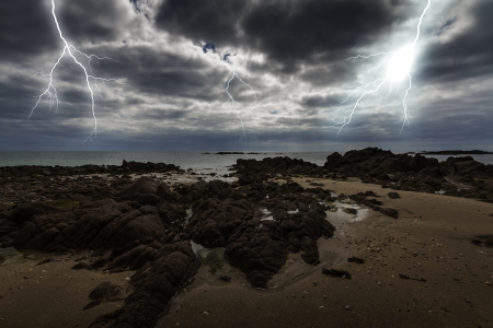 Flash lightning over the ocean photo