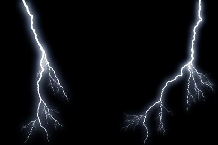 electrochemical: Flash lightning on black background