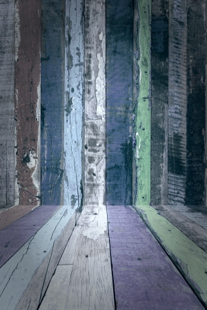 spall: Weathered wood, room as background Stock Photo