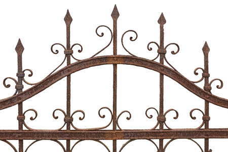ancient blacksmith: Rusted wrought iron fence on white background