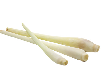 Three pieces of lemongrass on white  photo