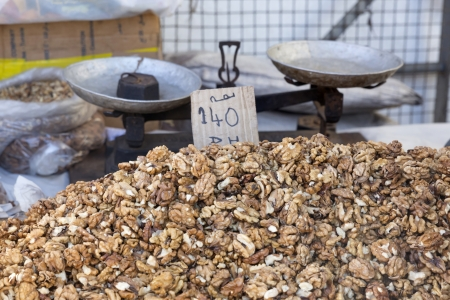 Walnuts on a market in Morocco, Africa photo