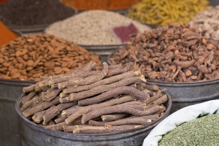 Liquorice for sale on a market in Morocco photo