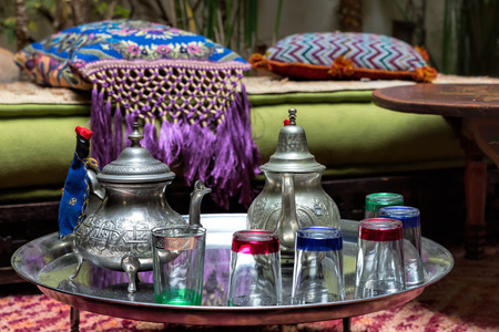 Traditional Moroccan tea service photo