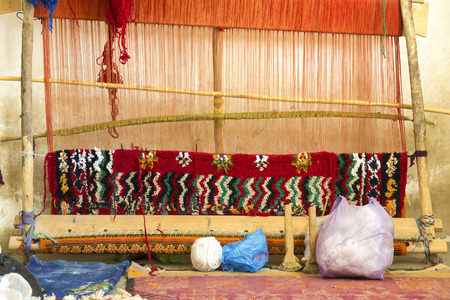 rug weaving: Traditional loom in Morocco, Africa