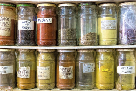 Spices in glass jars, Morocco photo