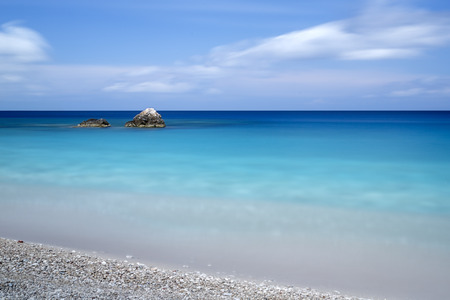 costal: Pebble beach on a Greek island, longtime exposure