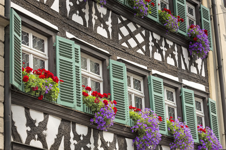 upper half: Half timbered house in upper Franconia, Germany