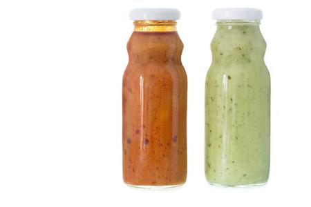 mojo: Traditional Mojo verde sauce in bottles. Stock Photo