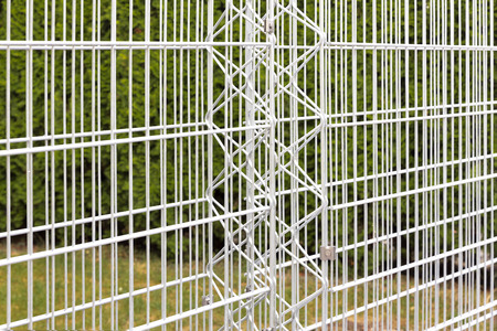 gabion: Iron bars of an empty gabion Stock Photo