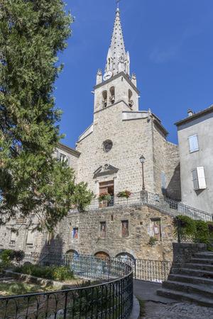 historic: Historic church in Joyeuse, France Stock Photo