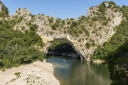 natural arch: Famous Pont darc and the river Ardeche, France Stock Photo