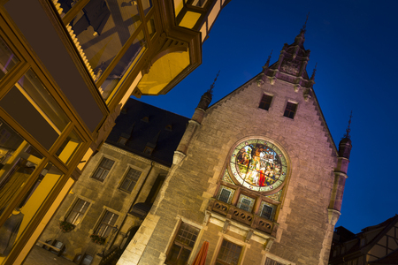 cityhall: Part of the cityhall in Quedlinburg at night, Germany