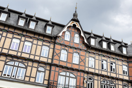 old building facade: Historic half-timbered houses in the town of Wernigerode, Germany