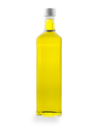 full filled: New bottle filled with olive oil, isolated