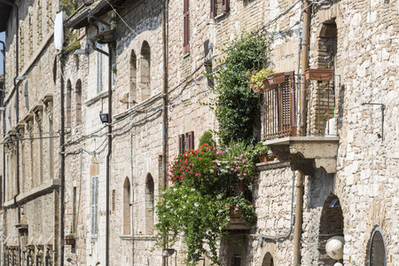 assisi: Typical residential homes in the city of Assisi, Italy