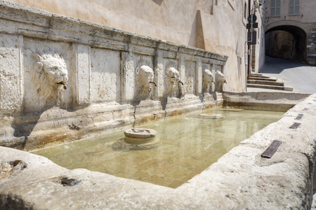 assisi: Historic fountain in Assisi, Italy Stock Photo