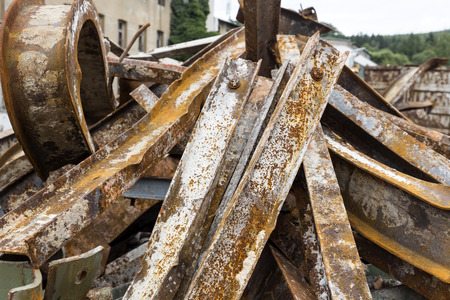 Large rusty steel beams for recycling