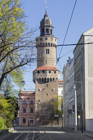 lower lusatia: Reichenbacher Turm tower in the historic small town of Goerlitz, Germany