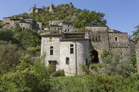 The small village of  Rochecolombe in the Ardeche district, Southern France Stok Fotoğraf - 80324343