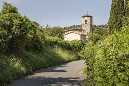 Church in the small village of  Rochecolombe, Ardeche district, Southern France Stock Photo