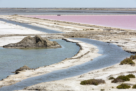 Salt production in the Camargue district, Southern France Stock Photo