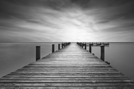 Jetty at lake Starnberger See in Bavaria, Germany, black and white