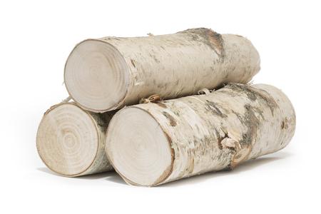 Freshly harvested birch wood, isolated Zdjęcie Seryjne
