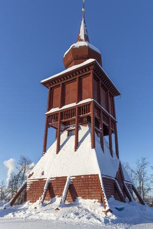 Historic church steeple in the town of Kiruna, Sweden