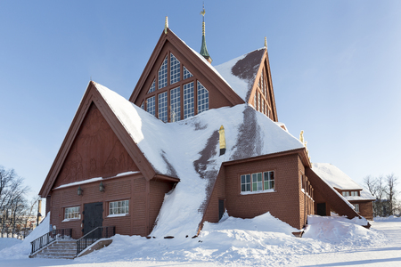 Historic church in the town of Kiruna, Sweden Stock Photo