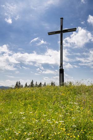 Gipfelkreuz auf dem Rechelkopf, Bayern Banco de Imagens