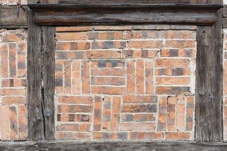 Part of an old brick stone wall on a half timbered house in Germany, Europe Stockfoto