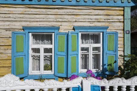 Windows of an old residential home in a village in Belarus (White-Russia) 스톡 콘텐츠