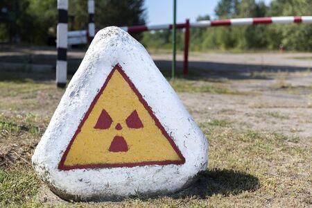 Signpost warning of radioactivity in Belarus, White-Russia