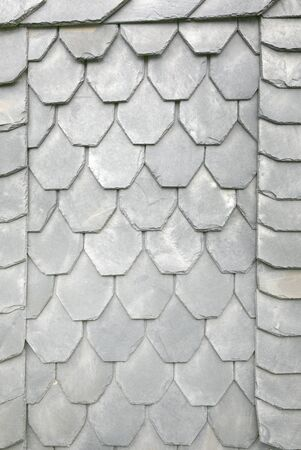 Slate tiles on a typical home in Thuringia, Germany, as background Foto de archivo