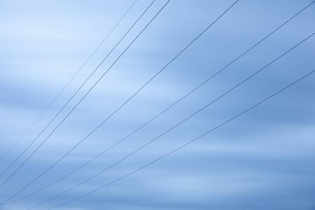 High voltage power line cables, shot with long exposure time Imagens - 148157370