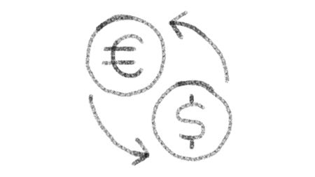 icon change currencies with drawing style on blackboard, animated footage ideal for compositing and motiongrafics